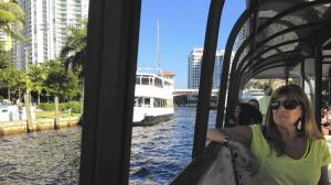 Photo showing rider on inaugural trip - Kate Jacobson, Sun Sentinel